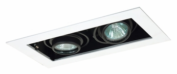 Jesco MG1650-2EWB Double Gimbal 10 Inch Wide New Construction Black/White Recessed Lighting Fixture