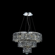 Elegant 2037D20C-SS-RC Maxim Chrome 20  Chandelier Lighting with Square Silver Shade Crystals