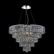 Elegant 2037D30C-SS-RC Maxim 30  Large 17-light Silver Shade Crystal Chandelier in Chrome