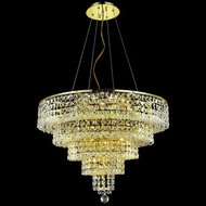 Elegant 2037D26G-RC Maxim 26  Medium Gold 14-lamp Ceiling Chandelier with Square Clear Crystals