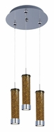 ET2 E94650-05PC Chroma Modern 3 Lamp Amber Glass Polished Chome Multi Pendant