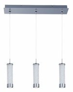 ET2 E94850-130PC Chroma Clear Iridescent Glass 3 Lamp Linear Bar Modern Multi Pendant Lamp