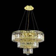 Elegant 2036D20G-RC Maxim Small 16  9-lamp Gold Chandelier Lamp with Clear Crystals
