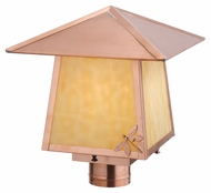 Meyda Tiffany 113223 Square Stillwater Dragonfly Natural Copper Finish 12 Inch Tall Post Lighting
