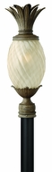 Hinkley 2121-PZ-EST Plantation 25 1/4 inch outdoor fluorescent light post in Pearl Bronze