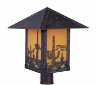 Arroyo Craftsman TRP-9CT Timber Ridge 9 inch Outdoor Light Post with Cactus Filigree