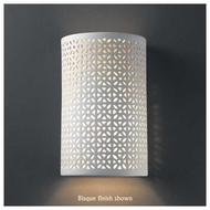 Justice Design 7815 Ambiance Small Cylinder w/ Overall Floral Wall Sconce