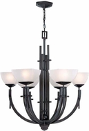 Lite Source LS19536 Squire Chandelier in Aged Bronze & Frost