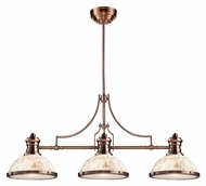 ELK 66445-3 Chadwick 3 Lamp Cappa Shell Antique Copper 47 Inch Wide Island Light