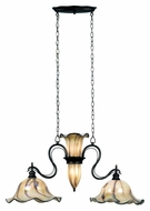 Kenroy Home 90889TS Inverness Art Glass 2 Lamp 40 Inch Wide Kitchen Island Light Fixture