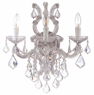 Crystorama 4433CHCLMWP Maria Theresa Crystal Antique Chrome 3 Candle Wall Sconce
