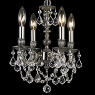 Crystorama 5504 Mirabella 10 1/2 inch mini chandelier in pewter finish