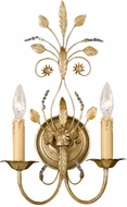 Crystorama 4702 Floral 11 inch 2-lite wall sconce in gold leaf