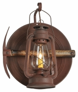 Meyda Tiffany 114829 Miners Distressed Rust Finish 17 Inch Tall Lantern & Pickaxe Wall Sconce