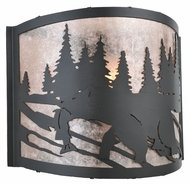 Meyda Tiffany 107450 Grizzly Bear 12 Inch Wide Black Rustic Sconce Lighting - Left