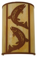 Meyda Tiffany 130803 Wall Mounted Rustic Leaping Trout 18 Inch Tall Sconce Lighting