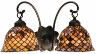 Meyda Tiffany 18632 Amber Fishscale 2 Light Tiffany Wall Sconce Lighting Fixture
