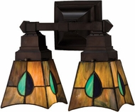Meyda Tiffany 31230 Mackintosh Leaf 2 Bulb Tiffany Reversible Bath Lighting Fixture
