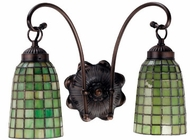 Meyda Tiffany 18637 Green Geometric 2 Light Tiffany Bath Lighting Fixture
