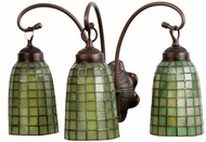 Meyda Tiffany 18640 Green Geometric 3 Light Tiffany Vanity Lighting Fixture