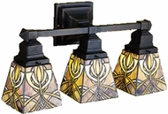 Meyda Tiffany 31234 Glasgow Mission 3 Light Tiffany Vanity Lighting Fixture