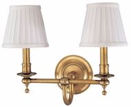 Hudson Valley 1902 Newport Two Light Vanity with White Pleated Shades