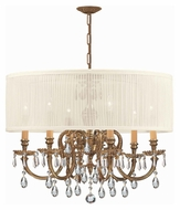 Crystorama 2916-OB-SAW-CLM Brentwood 26 Inch Diameter Antique White Shade Clear Crystal Chandelier
