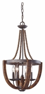 Feiss F2753/4RI/BWD Adan 16 Inch Diameter 4 Candle Mini Chandelier Lamp - Burnished Wood