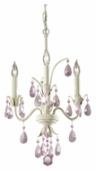 Feiss F2756/3IV Charlene Ivory Finish 14 Inch Diameter Pink Crystal Mini Chandelier