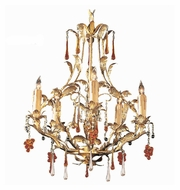 Crystorama 4605-GL Ritz Rustic Gold Leaf Finish 22 Inch Tall 5 Candle Mini Chandelier Lamp