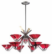 ELK 1476/6+3MAR Refraction Mars Glass Contemporary 31 Inch Diameter Polished Chrome Chandelier Lamp