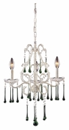 ELK 4001/3LM Opulence 3 Candle Antique White Small Lime Crystal Chandelier Lighting