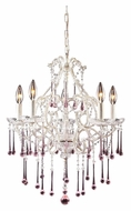 ELK 4002/5RS Opulence 20 Inch Diameter Medium Rose Crystal Chandelier Light With Antique White Finish