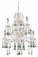 ELK 4003/6+3LM Opulence Antique White Finish 25 Inch Diameter 9 Candle Lime Crystal Chandelier