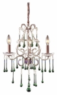 ELK 4011/3LM Opulence Small 17 Inch Diameter Rust Lime Crystal Candle Chandelier Lighting
