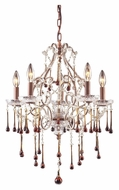 ELK 4012/5AMB Opulence Medium Amber Crystal 5 Candle Chandelier Light