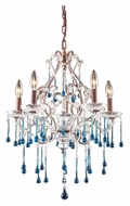ELK 4012/5AQ Opulence 20 Inch Diameter Aqua Crystal Rust Finish Candle Chandelier
