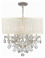 Crystorama 4415-CH-SAW-CLM Brentwood Pleated White Shade Chrome Hanging Chandelier - 20 Inch Diameter
