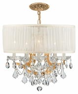 Crystorama 4415-GD-SAW-CLM Brentwood 20 Inch Diameter Gold Finish Smooth White Shade Crystal Chandelier