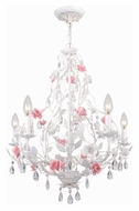 Crystorama 4856-AW Lola 22 Inch Diameter Small Rustic Antique White Chandelier