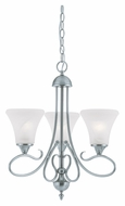 Thomas SL811378 Elipse Swirl Alabaster Style Glass 3 Lamp Brushed Nickel Mini Chandelier - 20 Inch Diameter