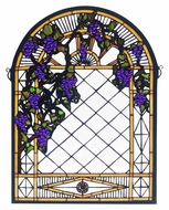 Meyda Tiffany 38327 Grape Diamond Trellis Stained Glass Arched 22 Inch Wide Wall D�cor
