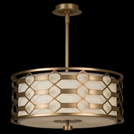 Fine Art Lamps 787540-2GU Allegretto Gold Small 3-light Solid Rectangle Lattice Drum Pendant Light
