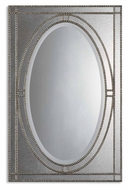 Uttermost 08055-B Earnestine Antiqued Silver Champagne Beaded Edge 43 Inch Tall Mirror