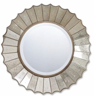Uttermost 8028 Amberlyn round wall mirror in gold leaf finish