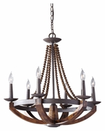 Feiss F2749/6RI/BWD Adan Burnished Wood 26 Inch Diameter 6 Candle Chandelier Light
