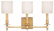 Hudson Valley 303 Palmer 3 Light Bathroom Lighting Fixture with White Pleated Shades