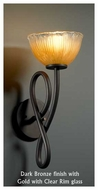 Justice Design GLA-8911-36 Capellini Wall Sconce with Bowl Rippled Rim Glass