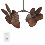 Fanimation Fans FP7000OB Caruso Tropical Double Ceiling Fan in Oil Rubbed Bronze with Wide Oval Bamboo Blades
