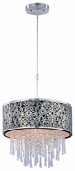 Maxim 22294BKSN Rapture Small Black Shade 5-light Crystal Drum Pendant Lighting